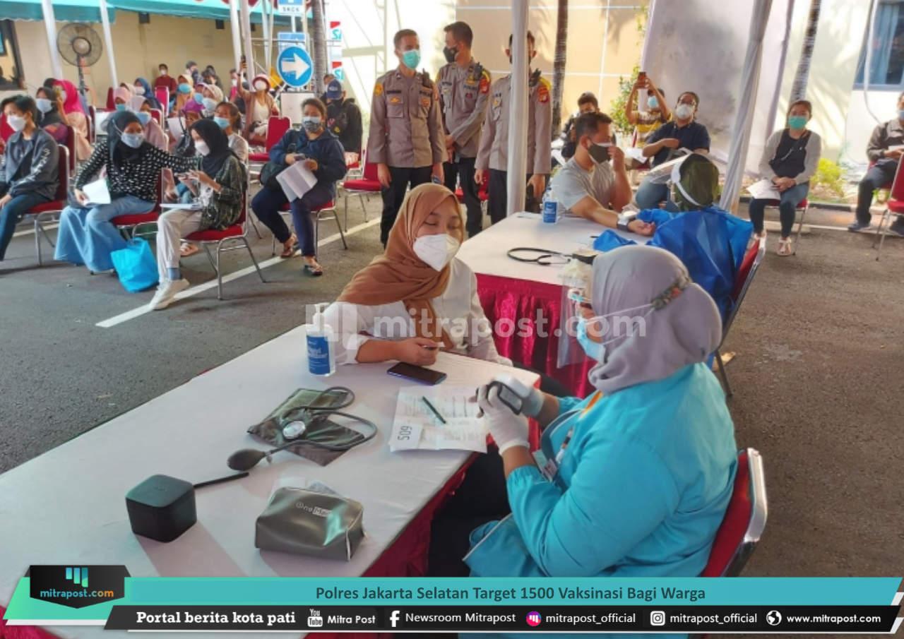 Polres Jakarta Selatan Target 1500 Vaksinasi Bagi Warga
