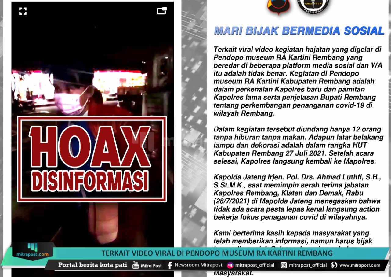 Terkait Video Viral Di Pendopo Museum Ra Kartini Rembang Kabidhumas Polda Jateng Itu Tak Benar - Mitrapost.com