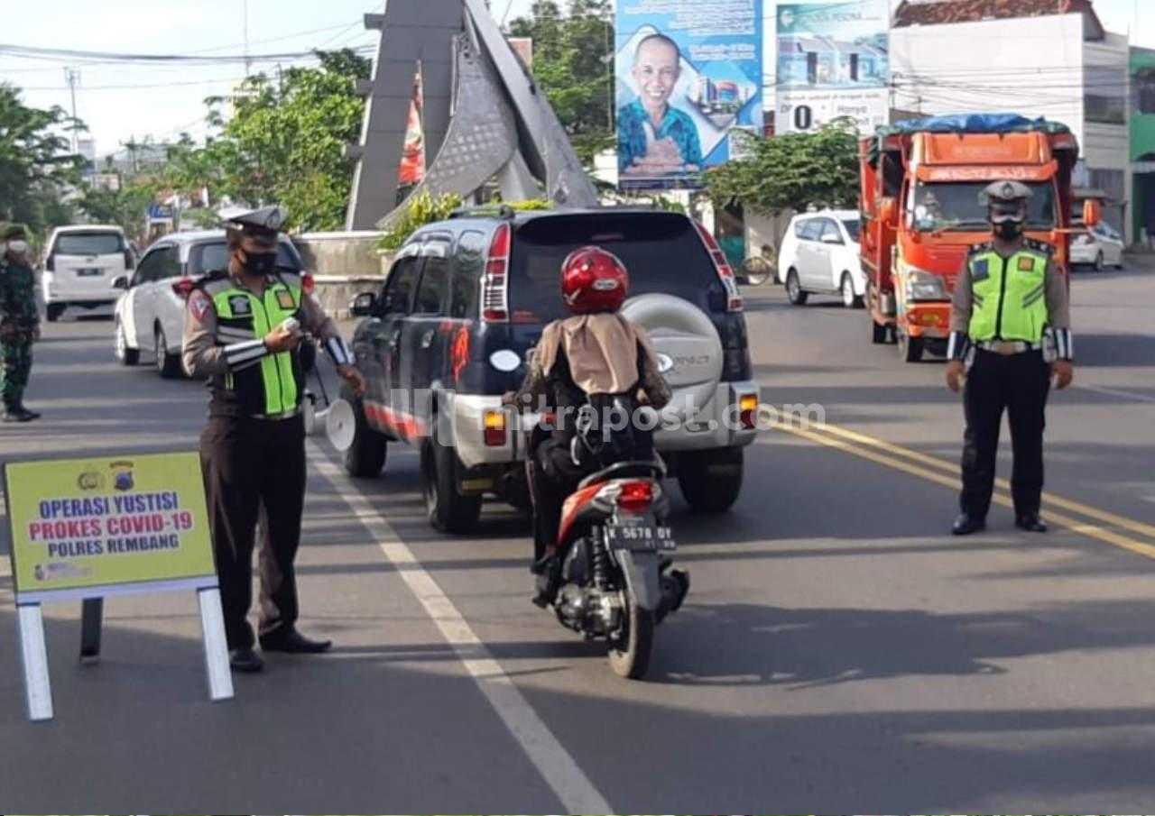 Polres Dan Kodim Rembang Gelar Operasi Yustisi Dan Sosialisasi Peduli Lindungi
